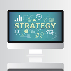 Strategy icon on computer screen infographic design