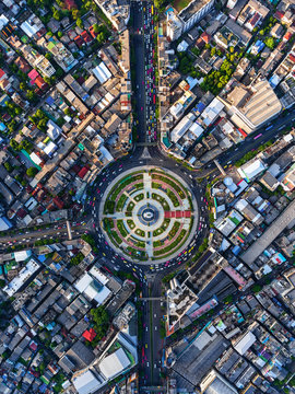 Road roundabout with car lots in Bangkok,Thailand.