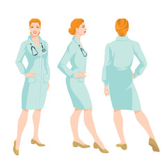 Vector illustration of woman doctor in medical gown on white background. Various turns woman's figure. Front view, back and side view.