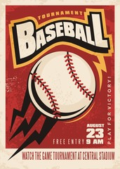 Baseball tournament retro poster design template