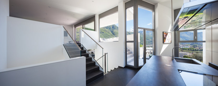 White kitchen with large windows