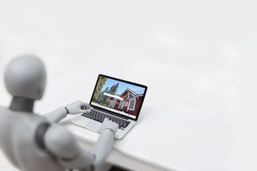 Robot cyborg buying a house - artificial intelligence