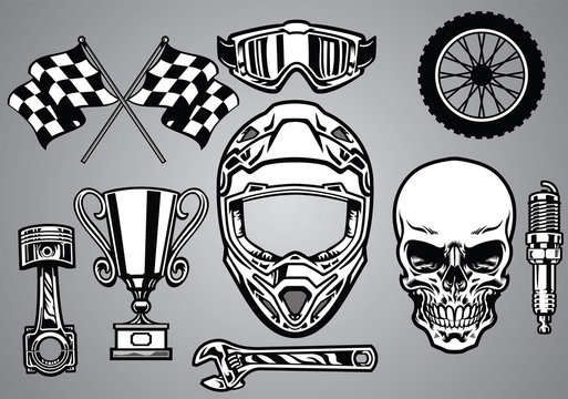 set of motocross racing with skull