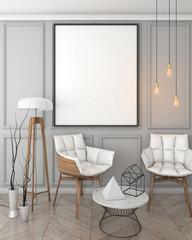 mock up poster frame in grey interior background, classic style, 3D render, 3D illustration