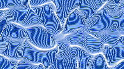 white abstract waves on blue background - shape made of lines