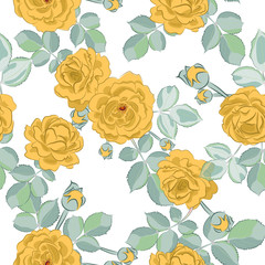 Yellow roses. Seamless pattern. Vector background.