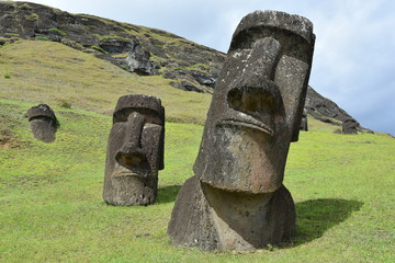 Moai statues at Rano Raraku on Easter Island (Rapa Nui