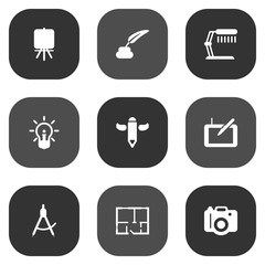 Set Of 9 Constructive Icons Set.Collection Of Photo, Gadget, Concept And Other Elements.
