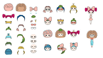 Collection of hand drawn vector doodles of kawaii funny girls heads with different hairstyles, accessories and two bodies.