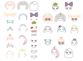 Collection of hand drawn vector doodles of kawaii funny girls heads with different hairstyles and trendy accessories.