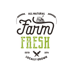 Farmers Market typography badge. Fresh and Local product logo template. Typographic eco farm insignia in black and green style. Isolated on white background. patch