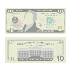10 Dollars Banknote Vector. Cartoon US Currency. Two Sides Of Ten American Money Bill Isolated Illustration. Cash Symbol 10 Dollars