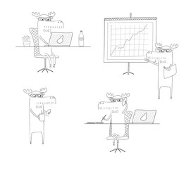 Hand drawn black and white vector illustration of a funny moose working in an office, with a laptop, doing presentation, talking on the phone.