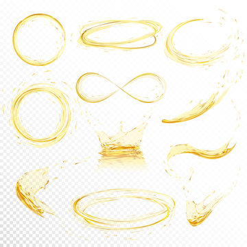 Oil splashing isolated on white background. Realistic yellow liquid with drop created with gradient mesh. Vector illustration set.