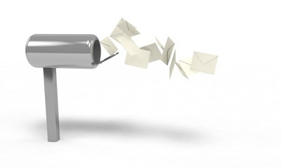 Mail box and flying letter, 3d