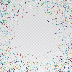Flying christmas confetti, anniversary celebration, happy birthday party vector background.