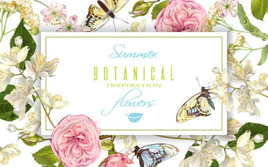 Flower butterfly horizontal banner