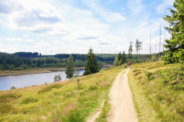 Hiking and biking, Nationlpark Harz, Eckerstausee, Wanderweg