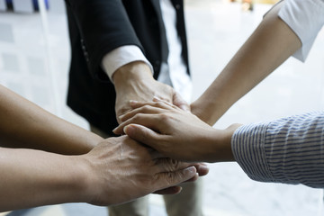 Hand together group office teamwork  show power