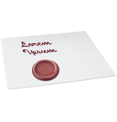 Blank white paper with red wax seal. Vector illustration