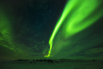 Breathtaking northern lights in the east Iceland