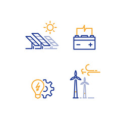 Offshore wind turbines and solar panels line icon, green energy concept logo
