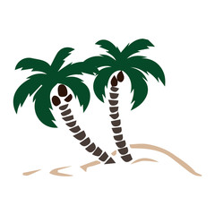 colored silhouette of palm trees on the sand