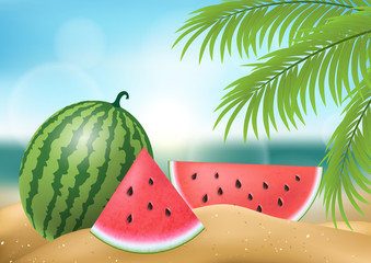 Watermelon whole and slice on beach sand. Palm tree and sea in background. Realistic vector illustration for travel and vacation design