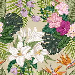 Seamless pattern with tropica flowers. Vector illustration.