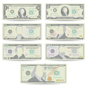 Dollars Banknote Set Vector. Cartoon US Currency. Front Side Of American Money Bill Isolated Illustration. Cash Dollar Symbol. Every Denomination Of US Currency Note.
