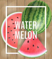 Watermelon frame with slices and whole, on wood texture background, and white frame. Realistic vector illustration for summer and fruits.