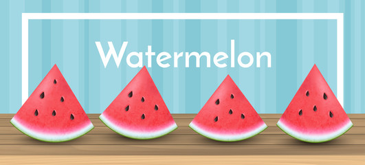 Realistic watermelon slices in a row on wood table.  Horizontal banner with frame, vector illustration