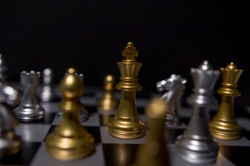 Business leader concept. Chess board game competition.