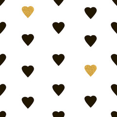 Seamless pattern from the black and gold hearts.