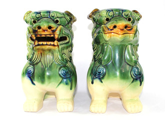 Vintage Chinese Foo Dog Dragons on White Background
