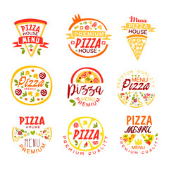 Pizza house, menu premium quality logo templates set of colorful vector Illustrations