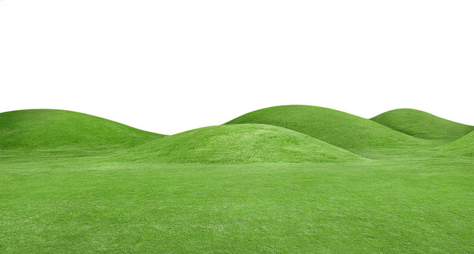 panorama of green hills is on white background