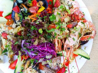 closeup mix seafood Shrimp and Mussels salad