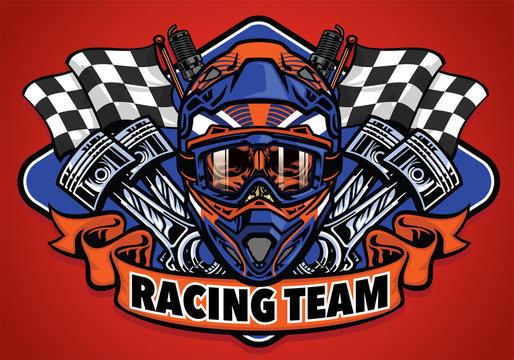 skull wearing motocross helmet racing team