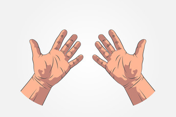 Realistic sketch hands - gestures. Hand-drawn. Icon hand stop. Mock up style.