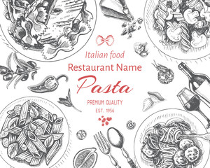 Vector illustration sketch - pasta. Card menu italian resraurant.