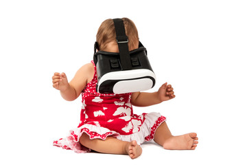 infant baby uses virtual reality (VR cardboard) isolated on white background