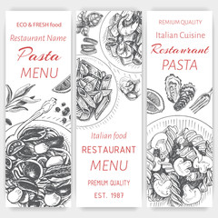 Vector illustration sketch - pasta. Card menu italian restaurant. Banner italan food.