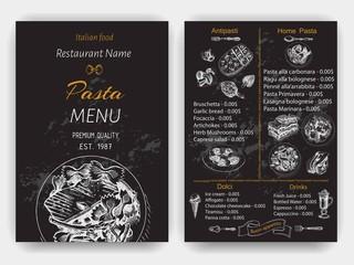 Vector illustration sketch - pasta. Card menu italian restaurant. Banner italan food.