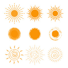 Vector set of different sun icon. New sun icon collection. Isolated on white background.