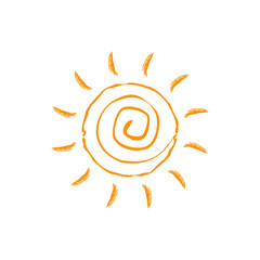 Vector swirl sun icon. Isolated on white background.