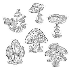 Set of stylized ornamental mushrooms. Line art collection. Tattoo. Coloring book