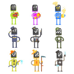 Cute cartoon robots in various professions with professional equipment set of colorful characters vector Illustrations