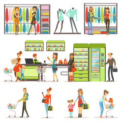 People buying grocery products and clothes in the supermarket set, family shopping colorful vector Illustrations