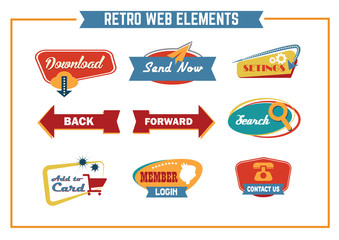 The new retro web icon. Signs collection. Vector Illustration.